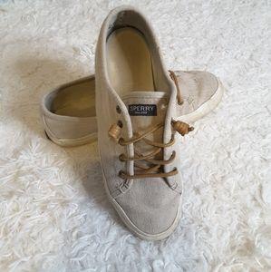 Sperry Seacoast Linen tan beige sneaker size 9M
